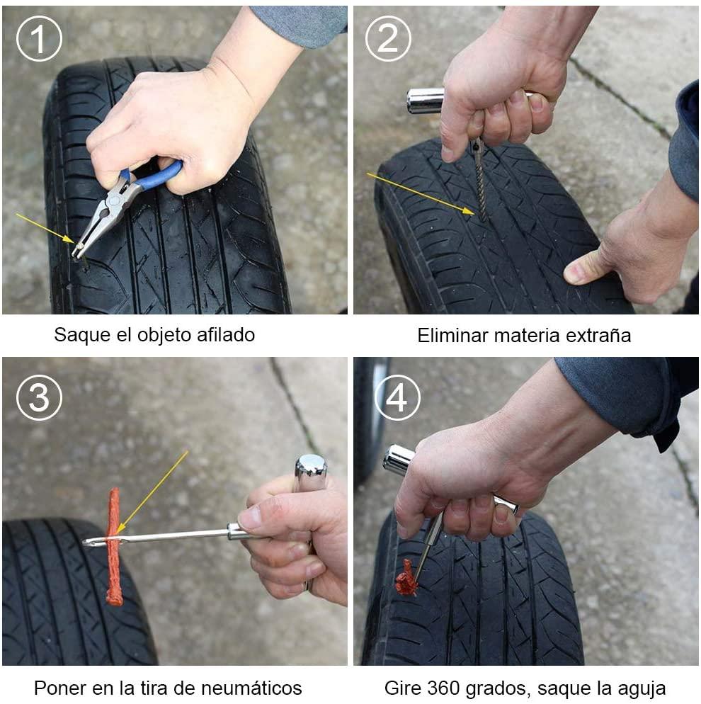 Instrucciones para reparar un pinchazo mediante kit de mechas paso a paso