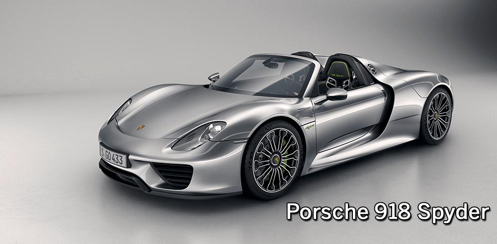 Perspectiva lateral frontal del Porsche 918 Spyder de color plata