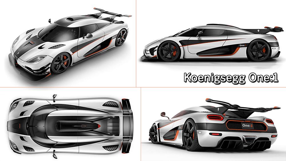 Collage de distintas perspectivas del Koenigsegg One:1 de color blanco con fibra de carbono
