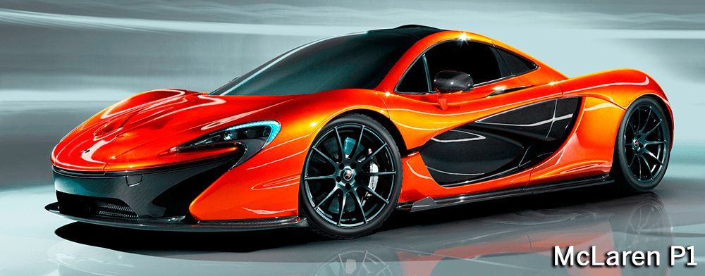 Perspectiva lateral frontal del McLaren P1 de color naranja