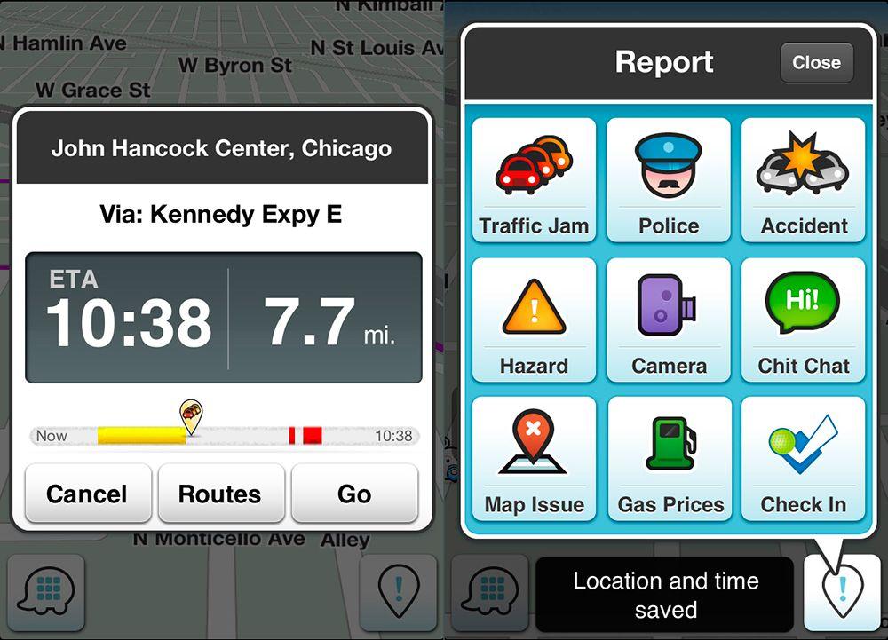 Información y rutas dentro de la app Waze
