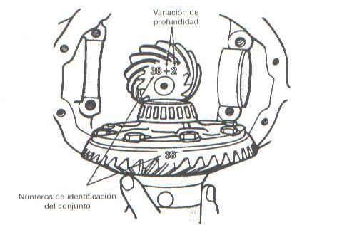Marcas de identificación y reglaje del conjunto piñón-corona.