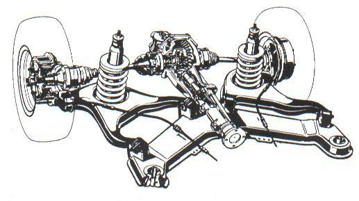 Disposición de montaje del puente trasero con suspensión independiente de las ruedas.