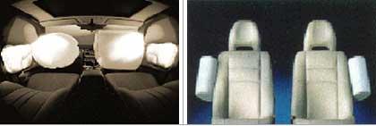 Tipos de montaje de airbags laterales: en las puertas (izquierda) y en los asientos (derecha)