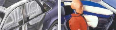 Tipos de airbag para la cabeza: de cortina (izquierda) y tubular (derecha)